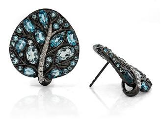 Michael Aram Botanical Leave Blue Topaz & Diamond Earrings