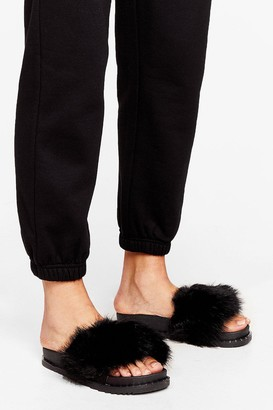 Nasty Gal Womens Faux Fur Better Together Sliders - Black - 5, Black