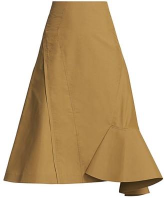 3.1 Phillip Lim Bonded Ruffle Hem Midi Skirt