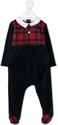 Patachou Contrast Tartan-Panel Pajamas
