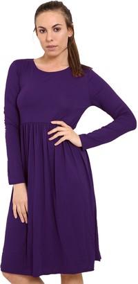 XubiDubi Women Ladies Long Sleeve Plain Jersey Flared Tea Skater Swing Dress Sizes 8-26 Wine