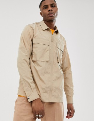 Asos Design DESIGN zip through overshirt in sand with utility pockets-Cream