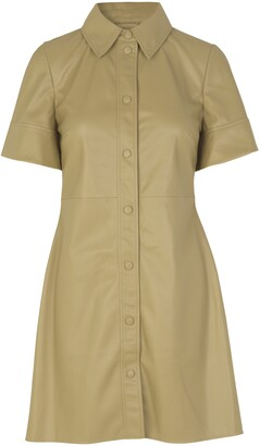 Short Sleeve Faux Leather Shirtdress