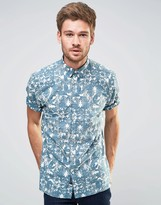 Selected Short Sleeve Shirt with All Over Reverse Floral Print