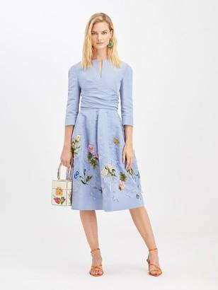 Oscar de la Renta Cornflower Embroidered Cocktail Dress