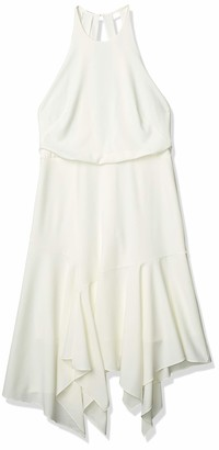 Halston Women's Sleeveless Round Neck Flounce Skirt Dress with Back Straps