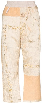 By Walid Jenny floral-embroidered cropped trousers