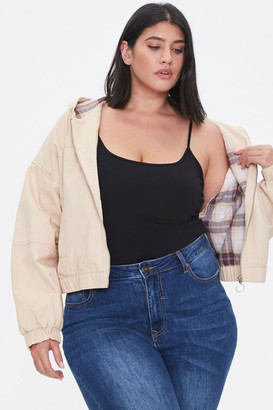 Forever 21 Plus Size Plaid-Lined Zip-Up Hoodie