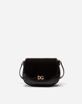 Dolce & Gabbana Patent Leather Side Bag With Logo
