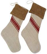 One Kings Lane Vintage Grain Sack Christmas Stockings