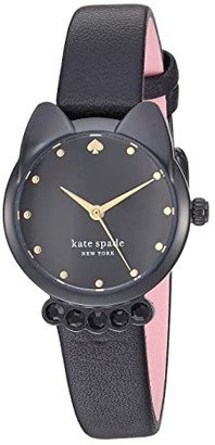 Kate Spade Cat Leather Watch - KSW1616 (Black) Watches