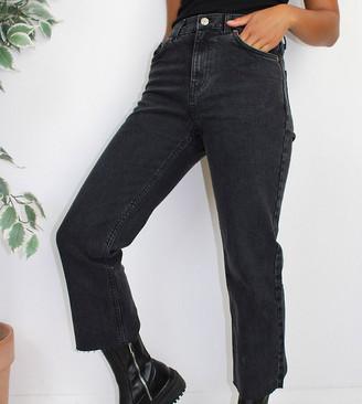 ASOS DESIGN Petite high rise stretch 'effortless' crop kick flare jeans in black