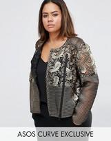 Asos Premium Lace Jacket In Gold Metallic Foil