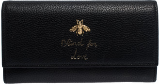 Gucci Black Leather Animalier Continental Wallet