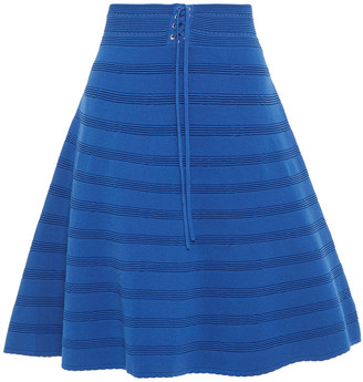 Sandro Flared Pointelle-trimmed Ribbed-knit Skirt