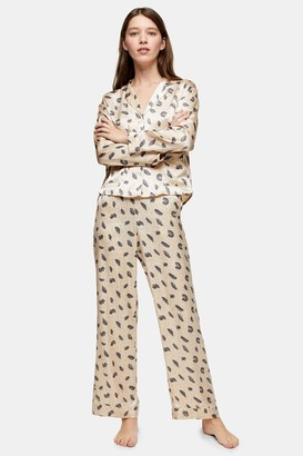 Topshop Womens Cream Feather Print Pyjama Trousers - Cream