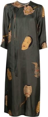 UMA WANG Graphic-Print Three-Quarter-Sleeved Midi Dress