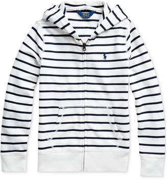 Polo Ralph Lauren Big Girls Striped Cotton-Blend-Terry Hoodie