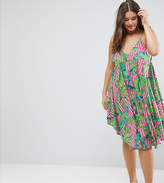 Asos Cami Beach Dress In Bright Tropical Print