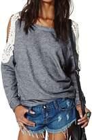 Choies Women's Cotton Cold Shoulder Crochet Lace Sleeve T-shirt Sweaters S