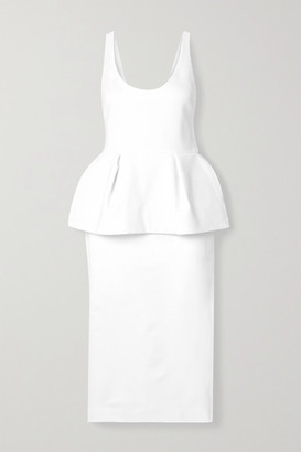 Cushnie Stretch-crepe Peplum Midi Dress - White