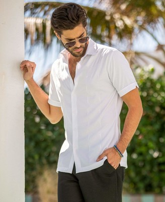 Cubavera Solid Panel Embroidered Shirt