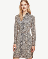 Ann Taylor Petite Spotted Tipped Shirtdress
