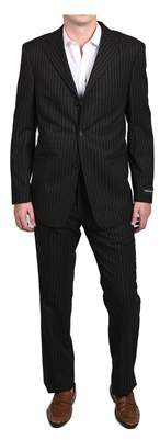 Versace Pinstripe Men's Two-piece Wool Suit Black/white.