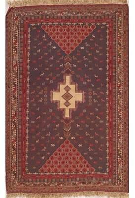 Allura Bloomsbury Market Charcoal Tribal Geometric Kilim Qashqai Shiraz Persian Style Area Rug 5' 8'' X 3' 10'' Bloomsbury Market