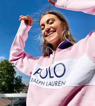 Polo Ralph Lauren x Asos exclusive collab half zip logo sweater in pink