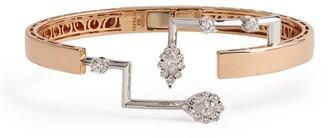 YEPREM Rose Gold and Diamond Electrified Bangle
