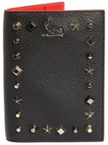 Christian Louboutin Loubipass Empire Studded Leather Passport Case - Black