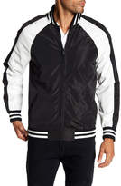 X-Ray Stripe Trim Faux Leather Panel Jacket