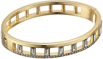 Vince Camuto Thin Button Hinge Bangle (Gold/Crystal) Bracelet