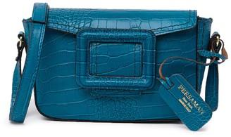 Persaman New York Airlia Croc-Embossed Leather Crossbody Bag