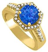LoveBrightJewelry Hexagon Shape Sapphire and Cubic Zirconia Ring in 14K Yellow Gold Exclusive Design Lovely Design