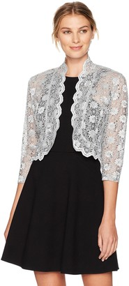 R & M Richards R&M Richards Women's 1 Piece Laced Jacket Shrug with Sequins in Missy in Silver Medium