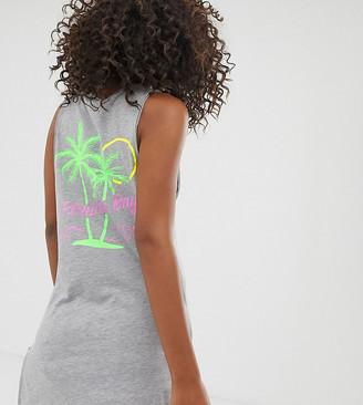 Asos Tall DESIGN Tall 'Florida Bay' neon print jersey beach cover up-Grey