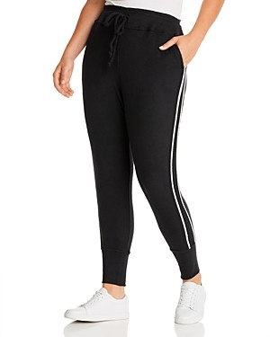 B Collection by Bobeau Curvy Brushed Racing Stripe Jogger Pants
