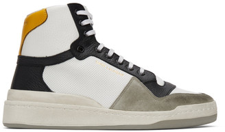 Saint Laurent White and Yellow Paneled High-Top Sneakers