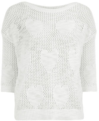 Dorothy Perkins Ivory open stitch heart jumper