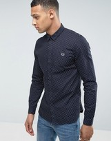 Fred Perry Polka Dot Long Sleeve Shirt in Navy