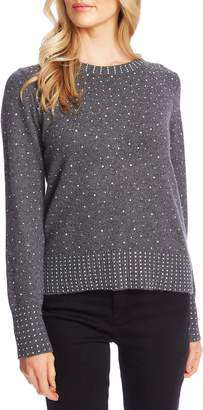 CeCe Crystal Detail Cotton Blend Sweater