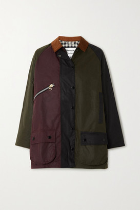 Barbour + Alexachung Corduroy-trimmed Patchwork Waxed-cotton Jacket