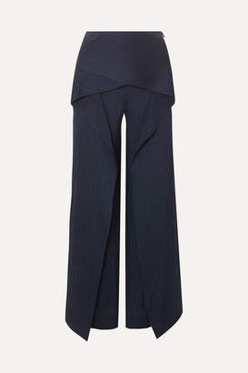 Roland Mouret Caldwell Draped Hammered Silk-satin Wide-leg Pants - Navy