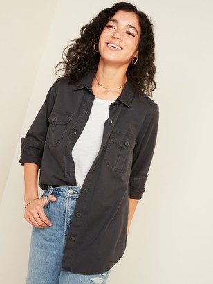 Old Navy Relaxed Twill Utility-Pocket Tunic Shirt for Women