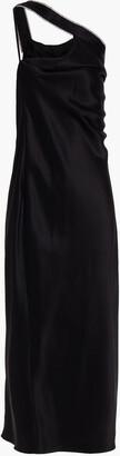 Mason by Michelle Mason One-shoulder Crystal-trimmed Silk-charmeuse Midi Dress