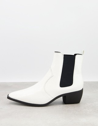 ASOS DESIGN cuban heel western chelsea boots in white faux leather with snake print and angular sole