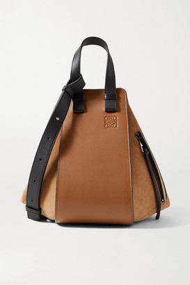 Loewe Hammock Small Paneled Leather And Suede Tote - Tan