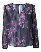 Fashion World Blackcurrant Print Shoulder Frill Blouse